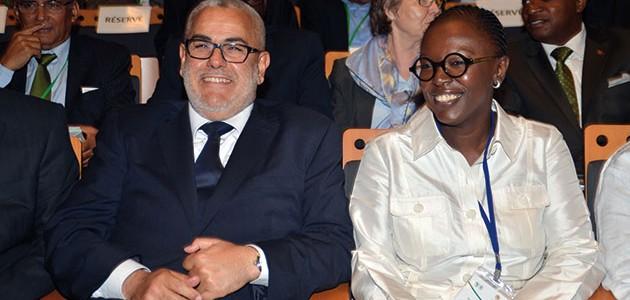 Abdelilah Benkirane, Chef du gouvernement et Yacine Fal, représentante résidente de la BAD au Maroc.