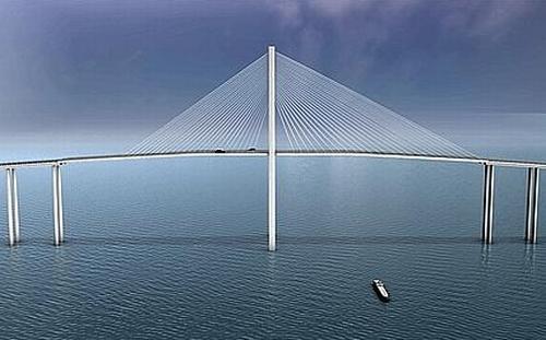 Infrastructures le futur pont haubans attraction de l 39 autoroute de r - Premier pont a haubans ...