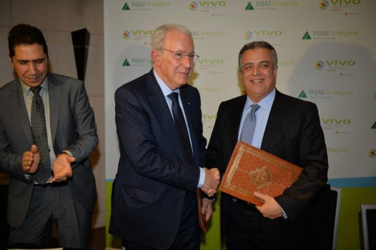 Mohammed Raihani, Directeur Général de Vivo Maroc, M'hammed Abbad Andaloussi, Président d'Injaz Al Maghrib