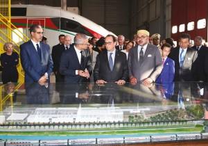 SM le Roi Mohammed VI et François Hollande lors de Inauguration de l'atelier de maintenance des TGV à Tanger.