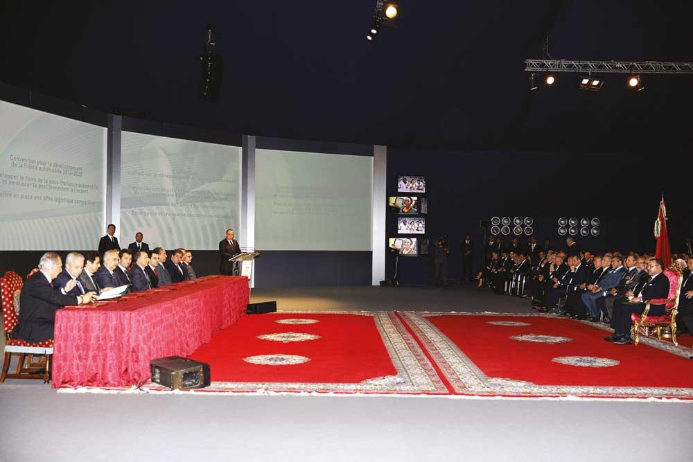 Le Souverain présidant à Casablanca la cérémonie de lancement du plan national d'accélération industrielle 2014-2020.