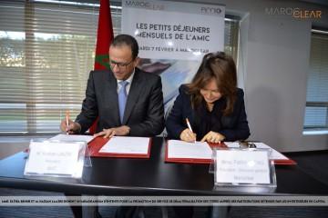 Hassan Laaziri, président de l'AMIC et Fathia Bennis, président directeur général de Maroclear.