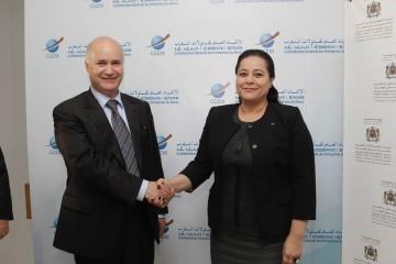 Miriem Bensalah Chaqroun, présidente de la CGEM et Anis Birou, ministre chargé des Marocains Résidents à l'Etranger et des Affaires de la Migration.