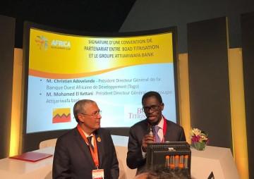 Mohamed El Kettani, PDG de Attijariwafa bank et Christian Adovelande, PDG de la Banque Ouest-Africaine de Développement