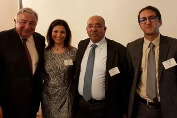 Gérard Larcher, président du Sénat, Amal El Amri, députée, Abdelaziz Alaoui, président de la CMIM, et Saïd Ghabri, directeur général de la CMIM