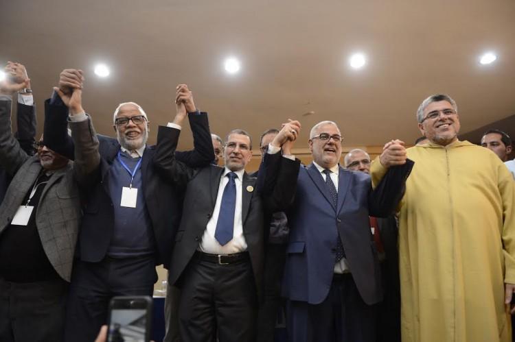 De droite à gauche : El Mostafa Ramid, membre du secrétariat général du PJD, Abdelilah Benkirane, scrétaire général du PJD, Saâdeddine El Othamni, membre du secrétariat général du PJD et Mohamed Yatim, membre du secrétariat général du PJD
