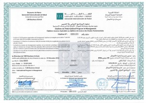Diplôme de l'Internatioanal program in management-BS- Licence