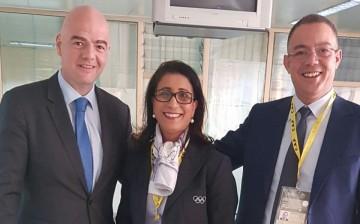 Gianni Infantino, président de la FIFA, Nawal El Moutawakel, vice-présidente du Comité International Olympique et Fouzi Lekjaa, président de la Fédération Royale Marocaine de Football