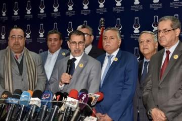 Driss Lachgar (USFP), Aziz Akhannoych (RNI), Saâdeddine El Othmani (PJD), Mohammed Nabil'Benabdellah (PPS), Mohamed Sajid (UC) et Mohand Laenser (MP)