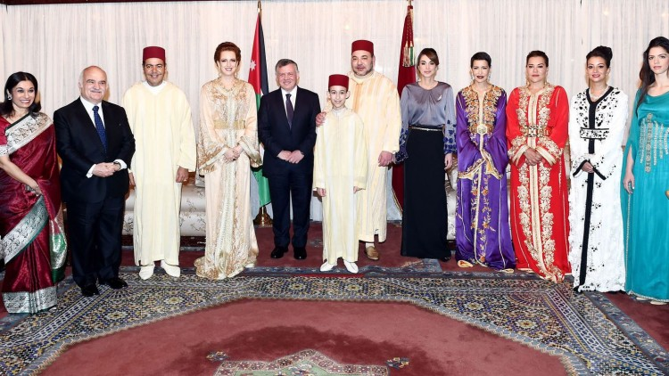 Sarvath al-Hassan, Hassan ben Talal, Moulay Rachid, Lalla Salma, Abdallah II, Mohamed VI et le prince héritier Moulay Hassan, Rania al-Yassin, Lalla Meryem, Lalla Hasna, Lalla Oulm Keltoum et Zeina Shaban