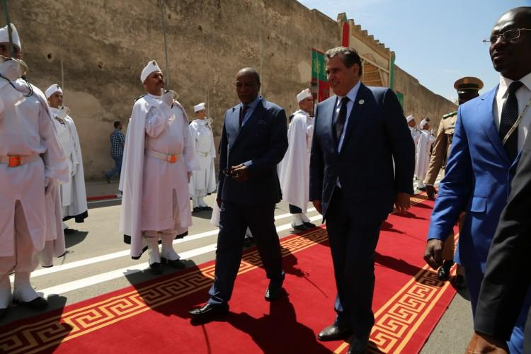 Alpha Condé, président de l'UA et Aziz Akhannouch, ministre de l'Agriculture, de la Pêche maritime, du Développement Rural, des Eaux et Forêts