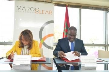Fathia Bennis, PDG de Maroclear et Edoh Kossi Amenouvne, DG de la DC/BR