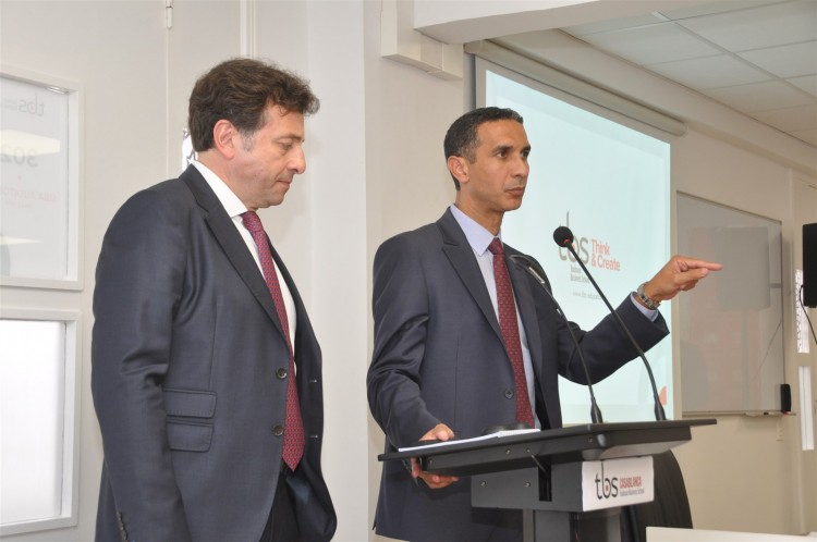 François Bonvalet, DG de TBS et Mohamed Derrabi, directeur du campus TBS Casablanca
