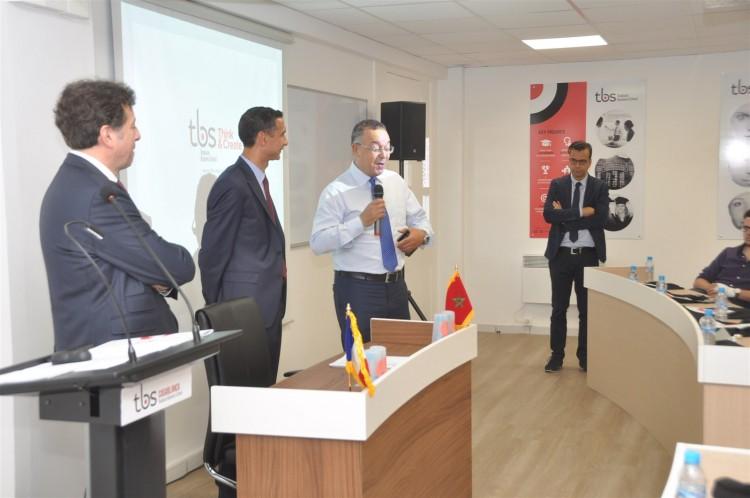 François Bonvalet, DG de TBS, Mohamed Derrabi, directeur du campus TBS Casablanca, Lahcen Haddad, ex-ministre du Tourisme et Abdelkhalek Zyne, PDG d'Equity