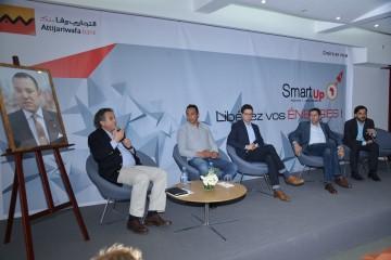 De gauche à droite : Abdeslam Alaoui Smaili, directeur général de HPS, Kamal Reggad,  président-fondateur de Hmizate et Hmall.ma, Amine Azariz, expert en Fintech, Ali Amrani, fondateur de Ibtiquar et Eric Asmar, consultant en Innovation