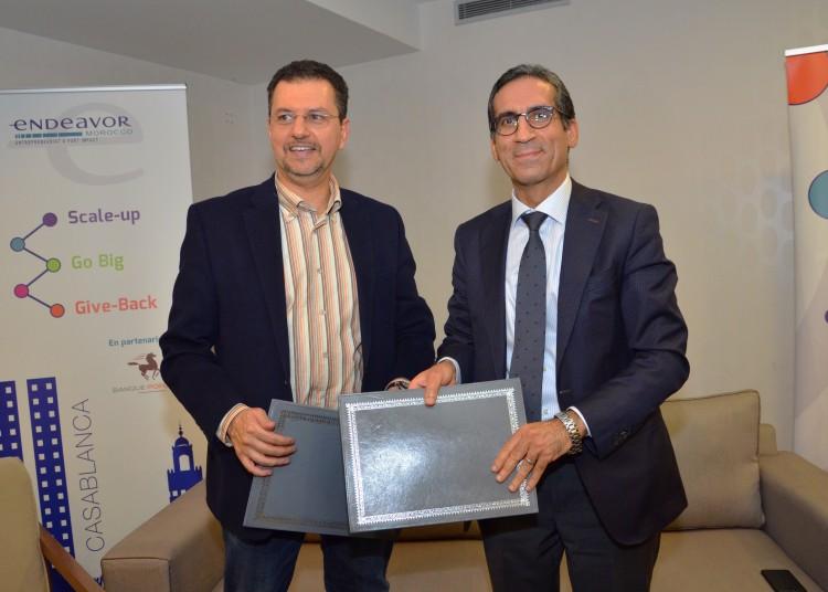 Mohamed  Elmandjra,  président  d'Endeavor  Morocco et Laïdi  El Wardi, directeur général de la Banque de Détail de la BCP