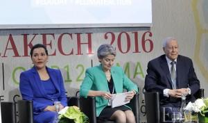 SAR la Princesse Lalla Hasnaa, Irina Bokova, directrice générale de l'UNESCO et Rachid Belmokhtar, ministre de l'Éducation Nationale et de la Formation Professionnelle lors de la journée de l'Éducation au Développement Durable
