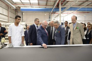 Patrick Koller, DG de Faurecia, Moulay Hafid Elalamy, ministre de l'Industrie et Jean-François Girault, ambassadeur de France au Maroc
