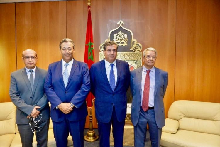 Rachid Benali, président de l'Interprolive, Tarik Sijilmassi, PDG du Groupe Crédit du Maroc, Aziz Akhannouch, ministre de l'Agriculture et Ahmed Ouayach, président de la COMADER