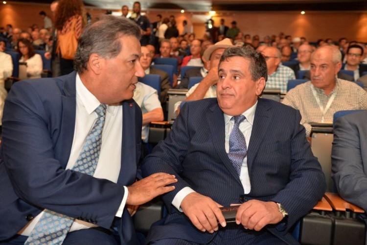 Tarik Sijilmassi, PDG du Groupe Crédit du Maroc et Aziz Akhannouch, ministre de l'Agriculture