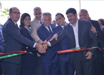 Badre El Kanouni, président du directoire de Al Omrane, Fatna El Khiyel, secrétaire d'État chargée de l'Habitat, Mohammed Nabil Benabdallah, ministre de l'Aménagement du Territoire National et Mustapha Bakkoury, président de la région Casablanca-Settat
