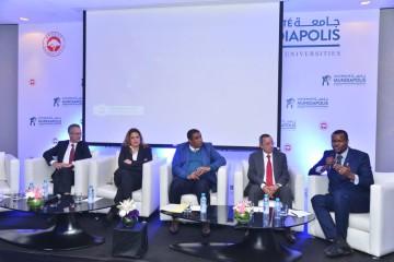 Dr. Amine Bensaid, président de l'Université Mundiapolis, Houbeb Ajmi, directrice générale de l'Université Centrale privée de Tunis, Pr. Zakaria Aboueddahab, vice doyen à la recherche de la Faculté des Sciences Juridiques, Économiques et Sociales (FSJES - Agdal), Pr. Wail Benjelloun, provost en charge des Affaires Académiques de l'Université Mundiapolis et Oumar Baldé, rédacteur en chef du cahier Afrique de l'Economiste