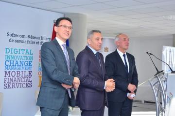 Guillaume Boudin, DG de Sofrecom, Moulay Hafid Elalamy, ministre de l'Industrie et Marc Rennard, président de Sofrecom