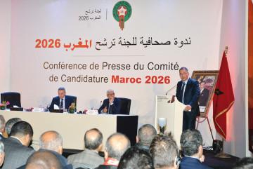 Fouzi Lekjaa, président de la FRMF, Rachid Talbi Alami, ministre de la Jeunesse et des Sports et Moulay Hafid Elalamy, président du comité de candidature du Maroc pour la Coupe du monde 2026