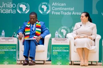 Emmerson Mnangagwa, président du Zimbabwe et Miriem Bensalah-Chaqroun, présidente de la CGEM