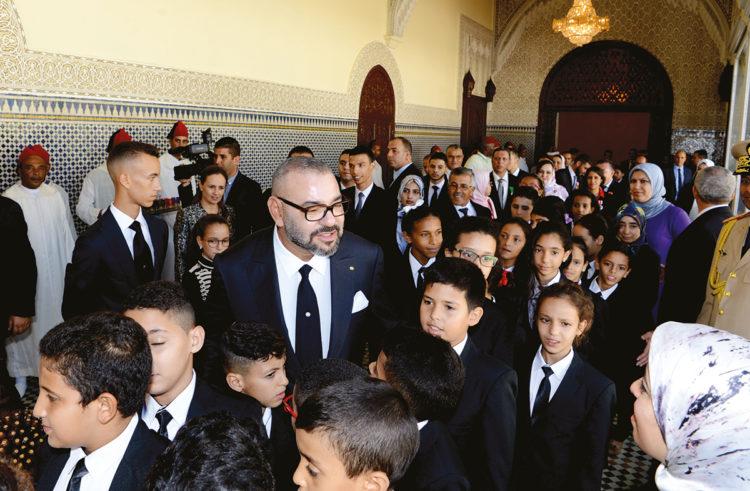 Le Roi, lors de la cérémonie de présentation du bilan d'étape et du programme exécutif dans le domaine du soutien à la scolarité et de la mise en œuvre de la réforme de l'éducation et de la formation, le 17 septembre 2018 au Palais Royal à Rabat.