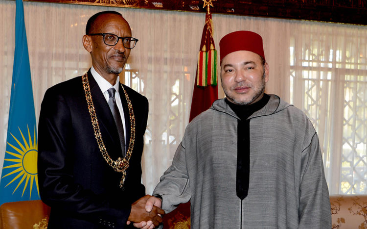 Le Roi Mohammed VI et le Président rwandais, Paul Kagamé, lors de la visite de ce dernier à Rabat en juin 2016.